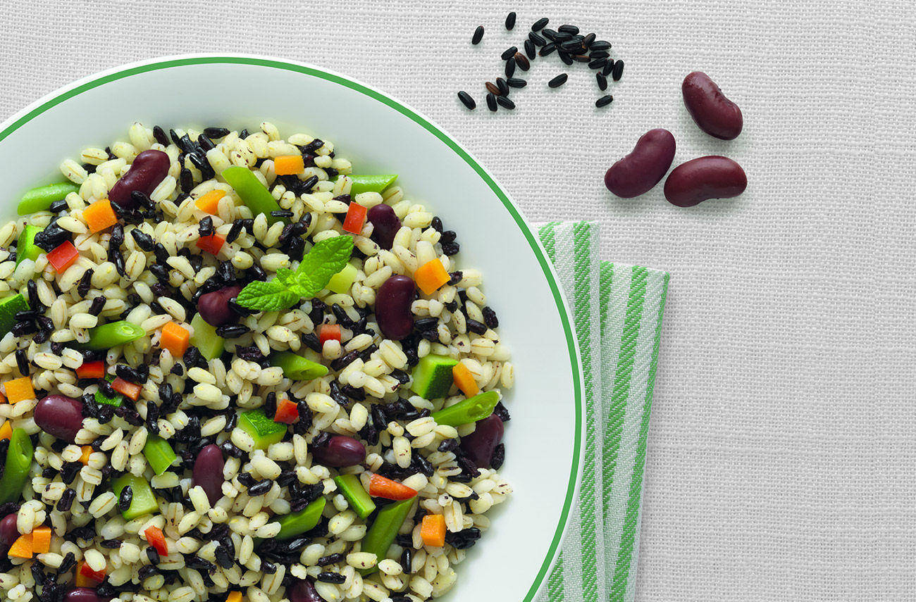 Barley and black rice with greens