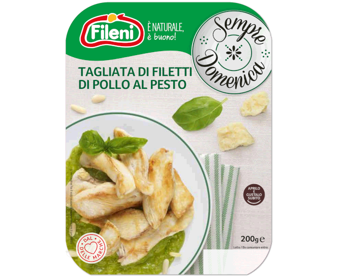 Roasted chicken fillet strips with pesto