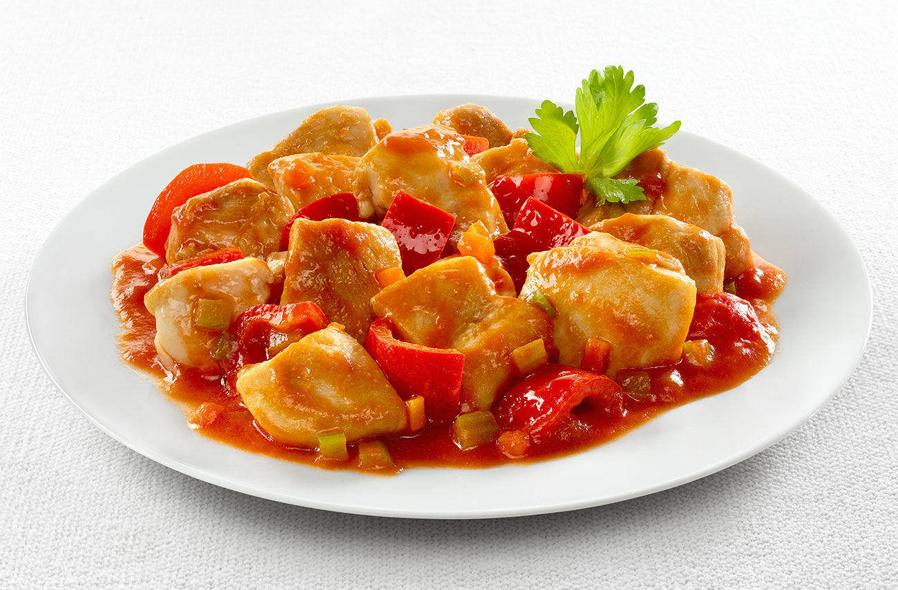 Chicken morsels with bell peppers