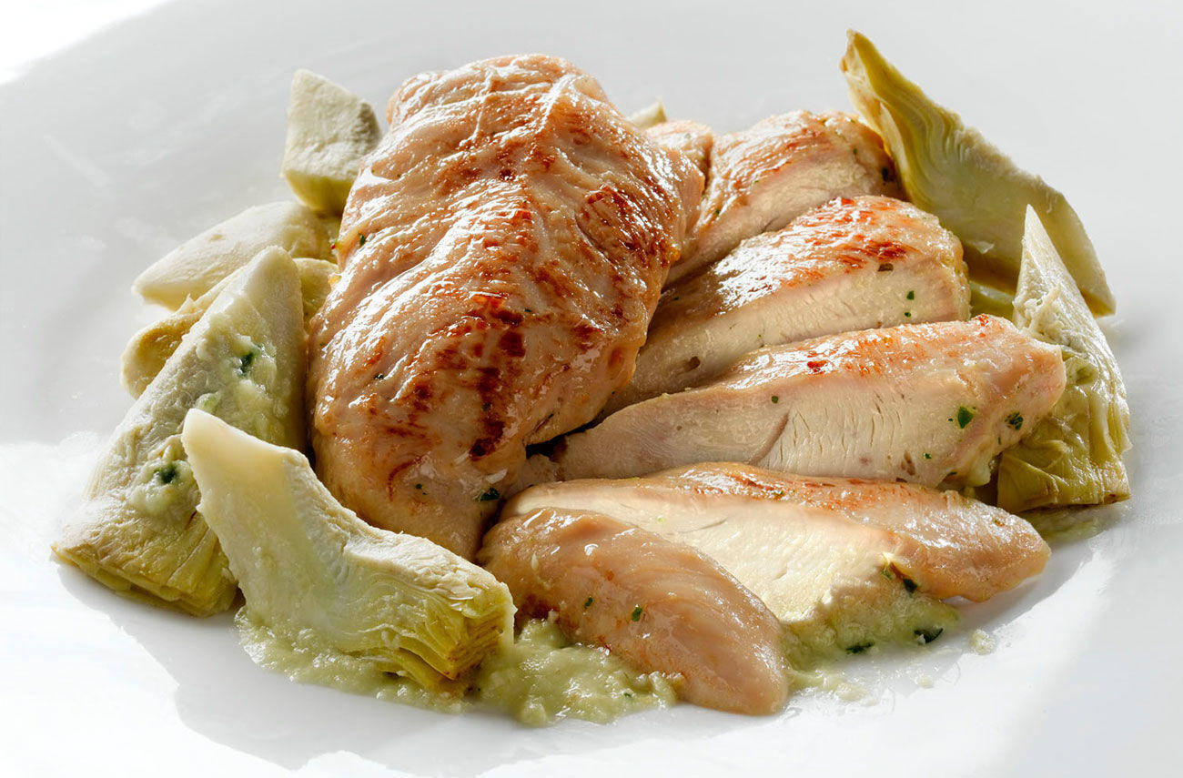 Chicken fillets with artichokes